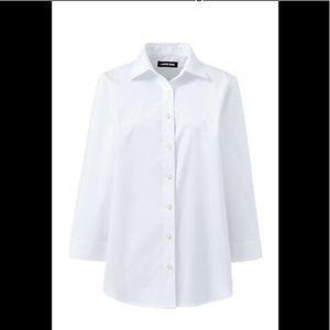 NWOT No Iron Supima 3/4 sleeve crisp WHITE 12 P